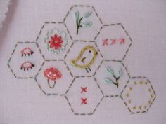Hexagon embroidery pattern.  Coordinates with Sew Stitchy Hexagon fabric