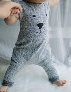 Bear Motif Gray Romper Gender Neutral 18-24 months. This is a Romper with a Bear Motif. Color is Gray with Black Detail. Suggested size is 18-24 months. | eBay!