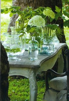 I like this idea with all glass and a mono floral color. Then you can use whatever you have on hand.