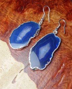 Agate Slice Earrings Blue Silver Plated (D38C) Set Pair Drop Earring Dangling Jewelry Hook Drop Brazilian Agates Dangle Fancy Handmade by Fierce2Fancy on Etsy https://www.etsy.com/listing/242978366/agate-slice-earrings-blue-silver-plated
