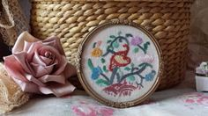 "New to NostalgiqueBoutique on Etsy: Darling Vintage round embroidered framed picture 3.5"" (13.00 GBP)"
