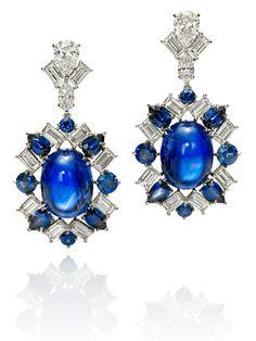 Harry Winston Cabochon Sapphire, Diamond and Sapphire Earrings High Jewelry, I Love Jewelry, Modern Jewelry, Jewelry Box, Vintage Jewelry, Jewelry Design, Jewlery, Harry Winston, Blue Earrings