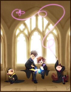 Hogwarts, Gravity Falls, Over The Garden Wall, Dipper, Wirt, Greg, Mabel, Done by KicsterAsh