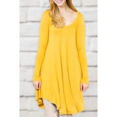 »Simple Scoop Collar Long Sleeve Pure Color Women's Dress«