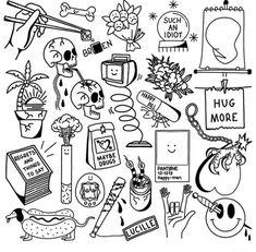 Kritzelei Tattoo, Grunge Tattoo, Doodle Tattoo, Tattoo Design Drawings, Small Tattoo Designs, Tattoo Sketches, Tattoo Flash Sheet, Tattoo Flash Art, Flash Tattoos