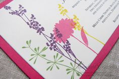 Wildflower Wedding Invitations Handmade by MoonlightStamper