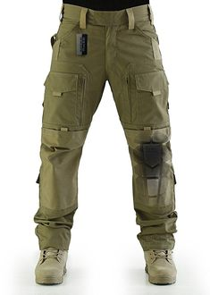 ZAPT Breathable Ripstop Fabric Pants Military Combat Multi-pocket Molle Tactical Pants with EVA Knee Pads (Khaki, S)