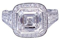 18k White Gold Asscher Cut Diamond Bezel Engagement Ring 3.30ctw GIA