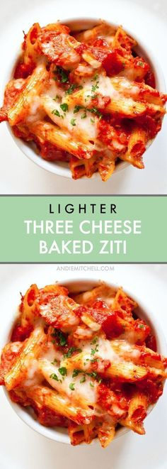 Lighter Three Cheese Baked Ziti Recipe - Make your 3 cheese baked pasta healthier and low calorie with a delicious lighter baked ziti that's full of ricotta, mozzarella, and Parmesan! Make it in no time!