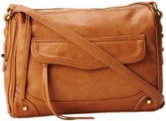 "Sale: $74.99   Jessica Simpson Melrose Top Zip #ShoulderBag   Color: Saddle   100% Polyurethane, polyester lining, zipper closure, 31"" shoulder drop, 9"" high, 10"" wide, Shoulder strap length: 45"", Includes interior back wall zipper pocket and two interior multi-function pockets."