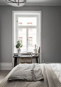 Grey - via coco lapine design cozy bedroom, stylish bedroom, bedroom decor, Minimalist Bedroom, Minimalist Home, Modern Bedroom, Stylish Bedroom, Interior Simple, Home Interior, Interior Design, Modern Interior, Cozy Bedroom