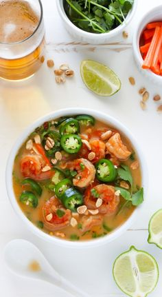 Thai Coconut Shrimp Soup - light, flavorful, and SO delicious! Skip the take-out and make this at home tonight!