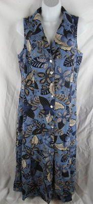 Coldwater Creek Blue Floral Linen Shirt Dress 14 Sleeveless   eBay