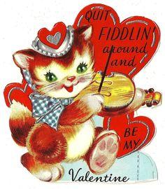 "Kitty Cat Plays Violin Says ""Quit Fiddlin Around"" Vintage Unused Valentine Card | eBay"