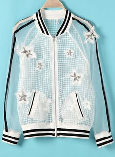 need to add this to my transparent collection - White Long Sleeve Bead Sheer Organza Jacket AU$35.79
