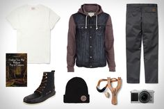 Don't let directions impede an adventure. Finding Your Way Without a Map or Compass ($7). Wandawega Sureshot Slingshot ($15). Sperry Top-Sider A/O 7-Eye Boot ($70). River Island Jersey Sleeve Denim Jacket ($82). Levi's Vintage Pocket T-Shirt ($90). Brixton Saint Beanie...