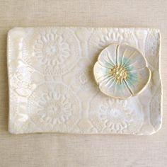 """Modern Ceramic serving tray White platter Hand Built ceramic platter lace pottery 10"""". $24.00, via Etsy."""