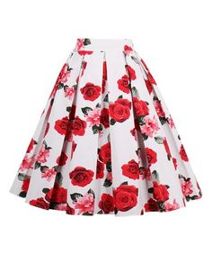 Look what I found on #zulily! Red Rose Pleated A-Line Skirt #zulilyfinds