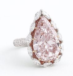 Pink Pear Cut Diamond Surrounded By White Diamonds - All Set In Platinum - Perfect Color!
