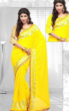 YELLOW GEORGETTE LATEST SAREE - RIS 1710A