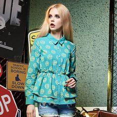 print style polo shirt blouse