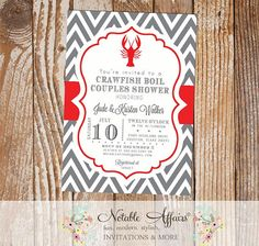 Crawfish Boil Couples Shower Party Celebration Engagement Couples Shower Invitation - - gray and red - colors and wording can be changed