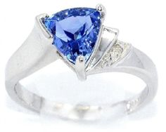 Tanzanite CZ  Diamond Trillion Ring 925 Sterling Silver Rhodium Finish >>> Check this awesome product by going to the link at the image.(This is an Amazon affiliate link and I receive a commission for the sales)