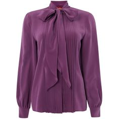 Max Mara Studio Foster Tie Neck Blouse With Pleating (3,840 EGP) ❤ liked on Polyvore featuring tops, blouses, sale women tops, shirt blouse, purple shirt, purple silk shirt, tie front blouse and tie front shirt