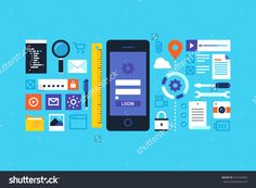 Mobile Application Development, Smartphone App Programming. Flat Design Style Modern Vector Illustration. - 475754353 : Shutterstock