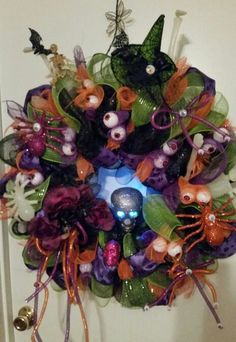 Halloween  deco mesh wreath I made for my son Brian