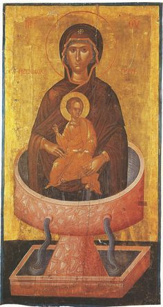 """Christ is risen! The Most-holy Theotokos, the """"Life-giving Spring"""", who bears Christ, commemorated the Friday of Bri. Byzantine Art, Byzantine Icons, Religious Icons, Religious Art, Christ Is Risen, Queen Of Heaven, Russian Icons, Best Icons, Ancient Mysteries"""