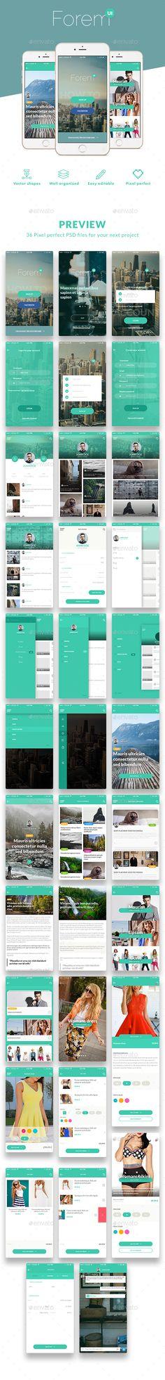 Forem UI Kit Template PSD. Download here: http://graphicriver.net/item/foremui-kit/15841094?ref=ksioks