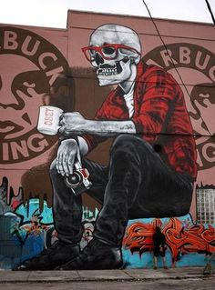 Skull street art, ply close attention to the details, you will find something