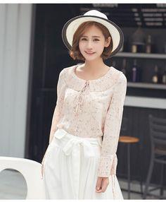 Lu Wei seda 2016 del cuello redondo de manga larga blusa de gasa versión coreana de las nuevas mujeres del verano que basa la camisa floja de la gasa femenina del lince -tmall.com