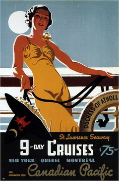 Mixed Media - Canadian Pacific - Cruises - Retro Travel Poster - Vintage Poster by Studio Grafiikka , Vintage Advertisements, Vintage Ads, Vintage Designs, Vintage Images, Vintage Trends, Art Deco Posters, Vintage Travel Posters, Retro Posters, Design Posters