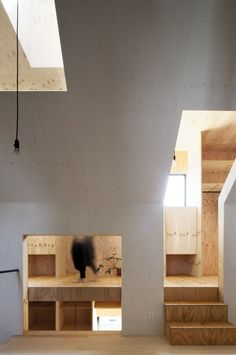 """The """"Ant House"""" of Shizuoka, Japan, takes minimalist to a whole new plain. Designed by the Japanese firm mA-style Architects, the façade of the house, Plywood Interior, Arch Interior, Home Interior Design, Interior And Exterior, Plywood Furniture, Modern Furniture, Furniture Design, Architecture Design, Small Wooden House"""