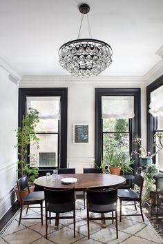 Black window frames, white crown
