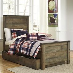 Trinell Rustic Look Full Panel Bed with Under Bed Storage/Trundle by Ashley Furniture Signature Design at Del Sol Furniture Panel Headboard, Headboard And Footboard, Double Headboard, Bed Headboards, Twin Size Bed Frame, Bookcase Bed, Under Bed Storage, Bedroom Sets, Kids Bedroom