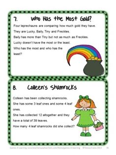 St. Patrick's Day Math Games, Puzzles and Brain Teasers is from Games 4 Learning. Fun, challenging math for St. Patrick's Day! $