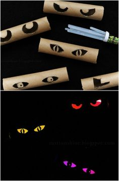 Mysterious Eyes in the Bushes. Paper towel or toilet paper roll with eyes cut in and glow stickes! Great inexpensive idea!