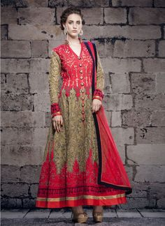 Blend graceful styles with intricate designs with this red and beige net ankle length anarkali salwar suit. This stylish ankle length anarkali salwar suit made with embroidered and lace....