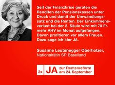 #av2020 Auch Nationalrätin Susanne Leutenegger Oberholzer ist  sagt ganz  klar: 2x JA zur Altersvorsorge 2020 Susanne Leutenegger Oberholzer sieht die Reform auch drum als so wichtige Massnahme, weil die Pensionskassen stark unter Druck sind.