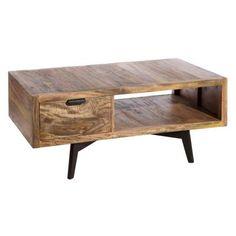 Mesa de centro con cajón, fabricada en madera de mango      Material: Madera de mango     Ancho: 60 cm     Largo: 120 cm     Alto: 44 cm     1 Cajón     Color: Marrón con negro