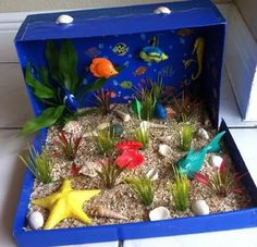 Making a ocean diorama is a fun way to learn about life in the sea. These under the sea dioramas are fun to make and look great. Ocean Projects, Animal Projects, Science Projects, School Projects, Projects For Kids, Crafts For Kids, Shoe Box Diorama, Diorama Shoebox, Diorama Ideas
