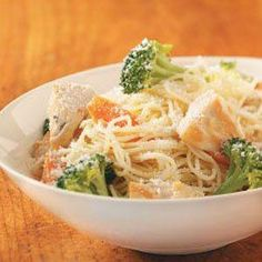 Angel Hair Pasta with Chicken Recipe -If you want to put something on the table that'll give you time to spare on busy nights, give this delicious dish a try. From start to finish, you're only 20 minutes away from a vibrantly colored, all-in-one meal. —Margaret Wilson, Sun City, California