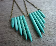 Turquoise Howlite Feather Wing Spikes Long Earrings - BOHO Jewelry