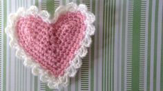 """Cluster Trim Heart Pattern #FP485 Original Design By:Maggie Weldon Easy Skill Size:About 5"""" wide by 4½"""" high.  Materials: Worsted Weight Yarn: For Each Heart"""