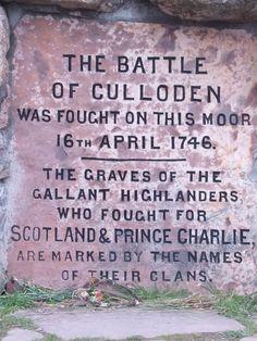 Inscription on the Battle of Culloden Memorial Cairn.
