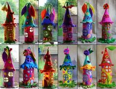 Assorted Felted Fairy Houses