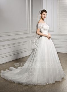 A-Line/Princess Off-the-Shoulder Court Train Ruffle Beading Sequins Zipper Up Covered Button Regular Straps Sleeveless Church General Plus No Winter Spring Fall Ivory Organza Lace Wedding Dress